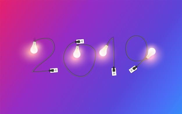 Neues jahr 2019 mit kreativem glühlampeideen-kreativdesign