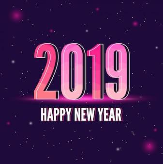 Neues jahr 2019 mit purpurrotem hintergrundraum