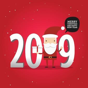 Neues jahr 2019 und frohe weihnachten winterhintergrund mit weihnachtsmann.