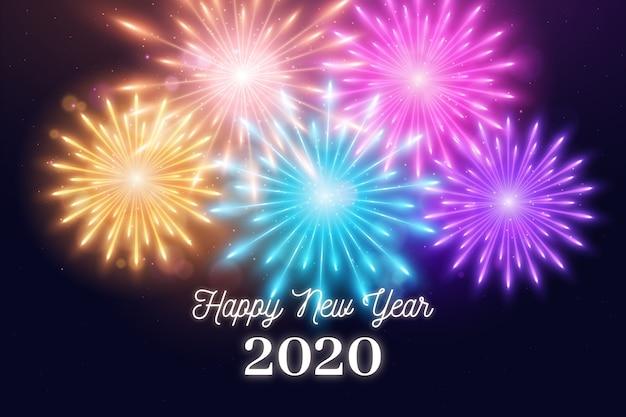 Neues jahr 2020 der bunten feuerwerke