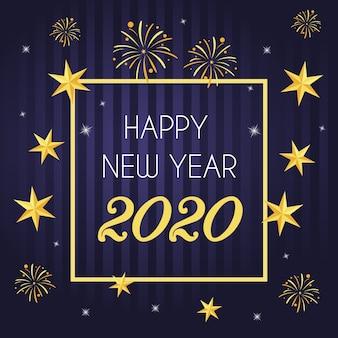 Neues jahr 2020 des flachen designhintergrundes