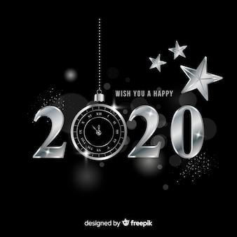 Neues jahr 2020 im silbernen stil