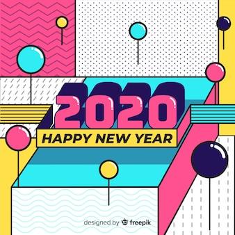 Neues jahr 2020 in flacher bauform