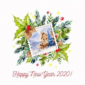 Neues jahr 2020 mit postkartenstempel