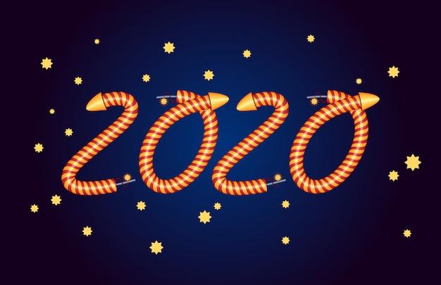 Neues jahr 2020. party einladung. elemente des feuerwerks.
