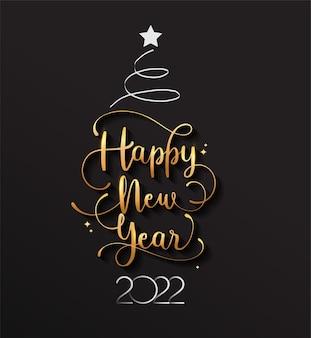 Neues jahr 2022 handgeschriebener schriftzug-typografie-design mit goldener eleganter farbe und weihnachtsbaum.