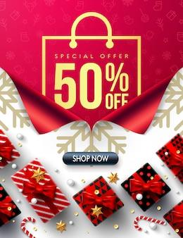 Neues jahr 50% rabatt auf sale promotion poster oder banner