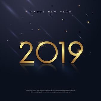 Neues Jahr-Gold mit Feuerwerk