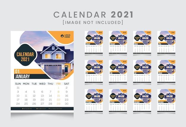 Neues jahr modernes wandkalender design 2021