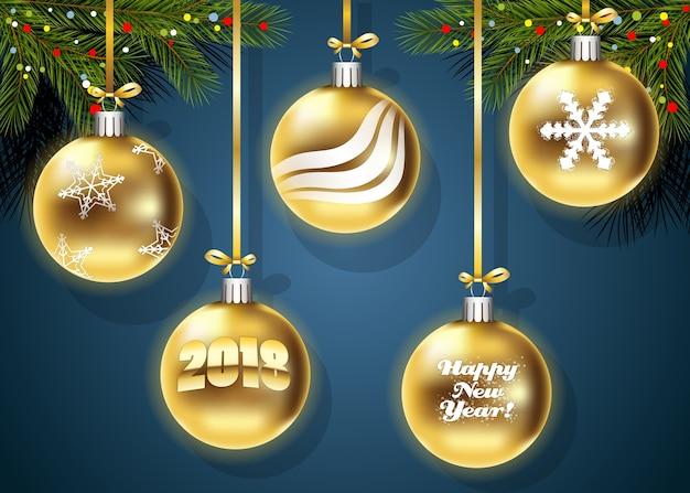 Neues jahr-weihnachtsgoldener ballhintergrund.