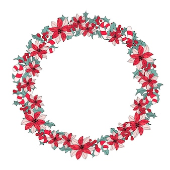 Neues jahr-wreath farbvektor-illustrations-set