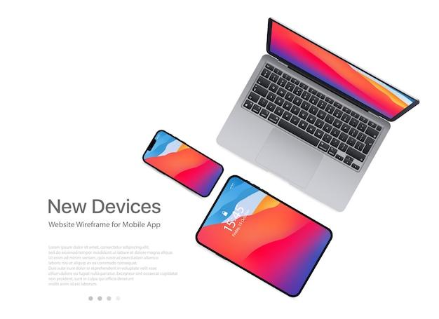 Neues macbook air, ipad mini, iphone 13 pro max mock-up. mock-up eines realistischen laptops. laptop der isometrischen illustration 3d. perspektivische ansichtsgeräte. vektor. saporischschja, ukraine - 19. oktober 2021