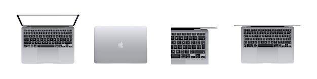 Neues macbook air, pro-modell. ui ux weiße benutzeroberfläche. saporischschja, ukraine - 18. oktober 2021.