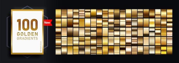 Neues mega-set von farbverläufen, bestehend aus einer sammlung von 100 goldglänzenden rechtecken.
