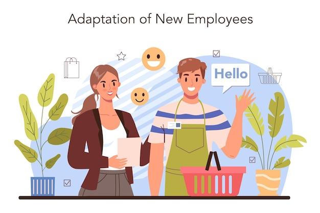 Neues mitarbeiteranpassungskonzept. personalmanager, der mitarbeiter mit arbeitsanweisungen versorgt. personalschulung, personalberatung. isolierte flache vektorillustration