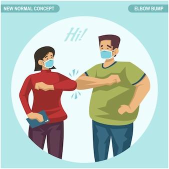 Neues normales konzept. begrüßung mit ellbogenstoß statt begrüßung mit umarmung oder händedruck, um die ausbreitung von covid19 coronavirus zu vermeiden.