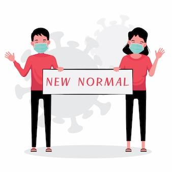 Neues normales konzept kennzeichnet mann und frau, die neues normales zeichen beim tragen der maske halten