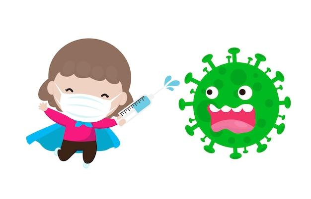 Neues normales lebensstil-konzept coronavirus, superheld-angriff der zeichentrickfigur covid-19