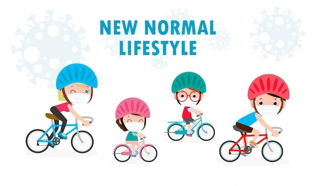 Neues normales lebensstilkonzept glückliche niedliche verschiedene familienreitfahrräder, die medizinische masken während coronavirus oder covid-19 soziale distanzierung tragen sportfamilienillustration lokalisiert auf weißem hintergrund