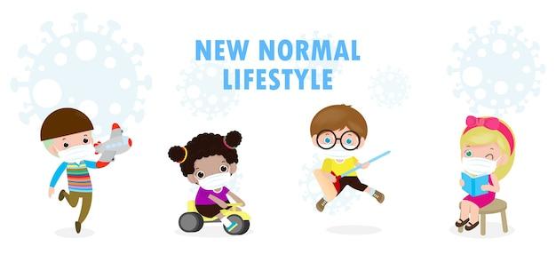 Neues normales lebensstilkonzept nach coronavirus-ausbruch, kinder, die medizinische maske mit spielzeug und sozialer distanzierender charakterkarikatur tragen, lokalisiert auf weißer hintergrunddesignillustration