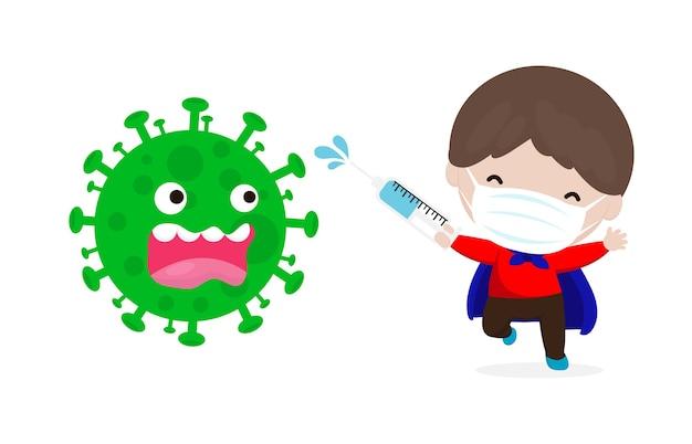 Neues normales lifestyle-konzept coronavirus (2019-ncov) zeichentrickfigur superheld angriff covid-19