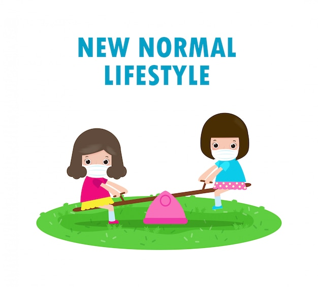 Neues normales lifestyle-konzept. glückliche kinder, die gesichtsmaske tragen, die spaß auf wippe am spielplatz haben, schützen coronavirus covid-19, kinder und freunde zurück zur schule lokalisiert auf weißem hintergrundvektor