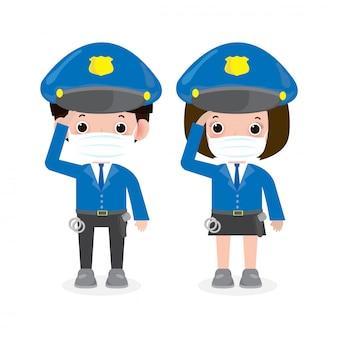 Neues normales lifestyle-konzept. polizisten, frau und mann cops charaktere, sicherheit in uniform tragen gesichtsmaske schützen coronavirus covid-19, isoliert auf weißem hintergrund illustration