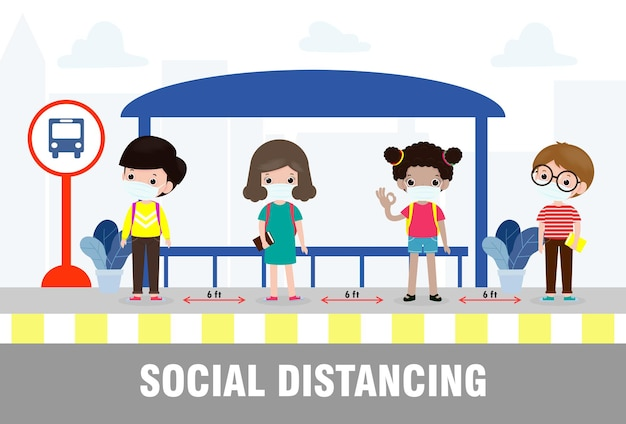Neues normales lifestyle-konzept zurück in die schule, glücklich, süß, vielfältig, kinder und verschiedene nationalitäten tragen medizinische masken an der bushaltestelle während coronavirus oder covid-19. soziale distanzierung, ausbruch