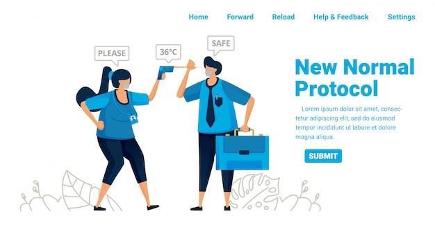 Neues normales pandemieprotokoll für arbeit und reisen. kontrollieren sie die körpertemperatur in büros, flughäfen und gesundheitseinrichtungen. illustrationsdesign von landingpage, website, mobilen apps, poster, flyer, banner