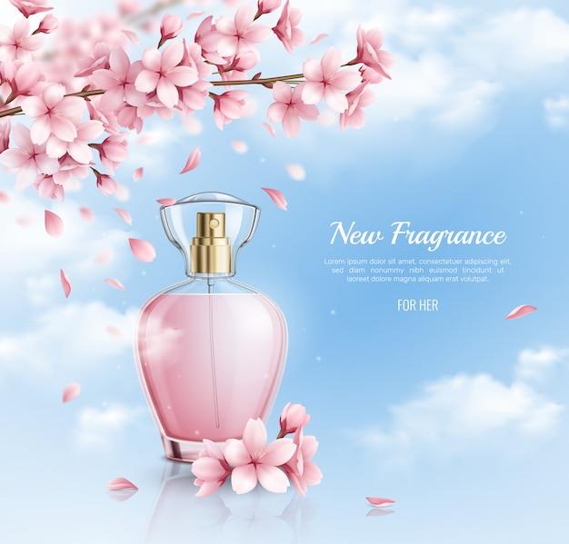 Neues parfüm mit realistischer illustration des sakura-duftes