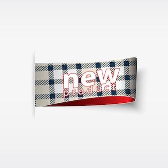 Neues produkt. karierte aufkleber und tags