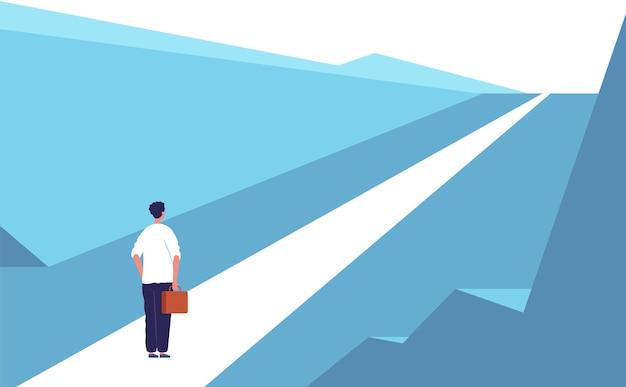 Neues reisekonzept. abstrakte person der autobahnstraße, die geschäftsmöglichkeiten im freien steht