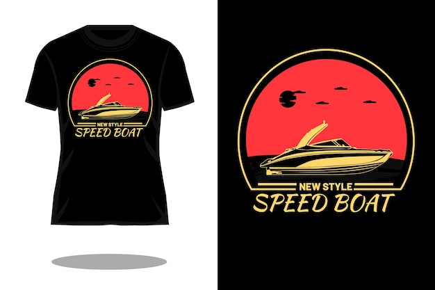 Neues stil-schnellboot-silhouette retro-t-shirt-design