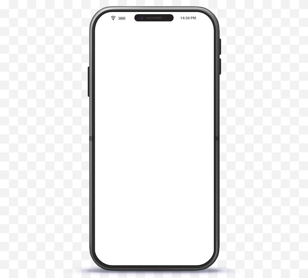 Neues und schwarzes designkonzept für mobiltelefone. smartphone mit rahmenlosem weißen bildschirm.