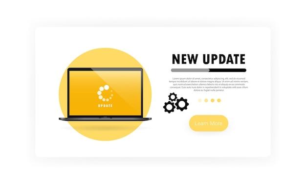 Neues update für notebook. installationsvorgang im monitorbildschirm.