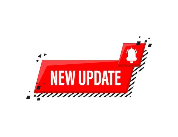 Neues update rotes etikett auf weiß