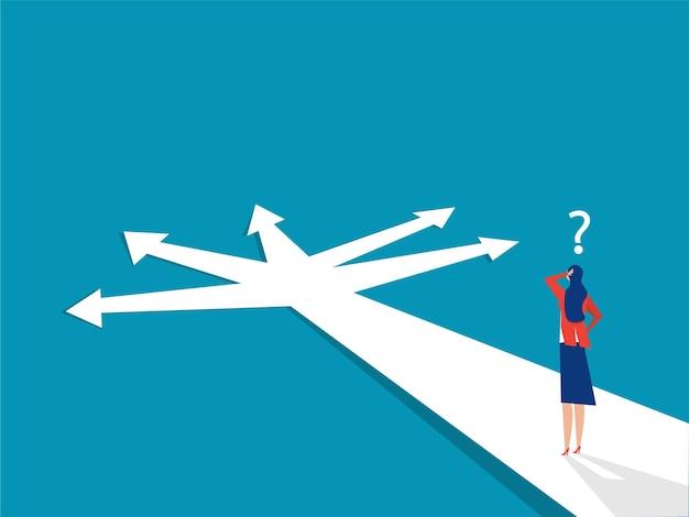 Neues wegkonzept beginnende reiseabenteuer und -möglichkeiten geschäftsfrau unterwegs im freien