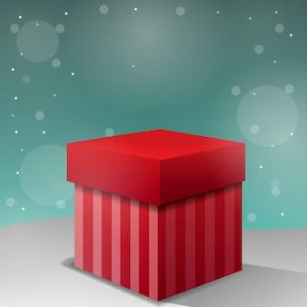 Neues weihnachtsgeschenk mit schneeflocken und platz für text