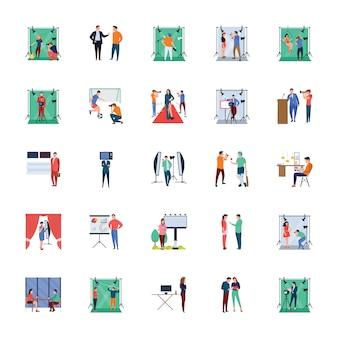 Neueste nachrichten und journalist flat illustrationen