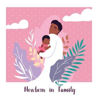 Neugeboren in familienkarte mit papa afro und kleinen sohn baby