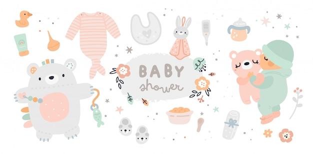 Neugeborene essentials-sammlung. baby muss haben