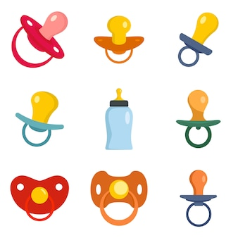 Neugeborene ikonen der schnullerbaby-pflege eingestellt