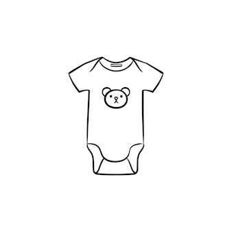 Neugeborenes baby tragen hand gezeichnete umriss-doodle-symbol. reizender körperanzug für kinderkleidungsvektorskizzenillustration für druck, netz, handy und infografiken lokalisiert auf weißem hintergrund.