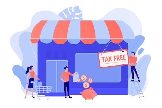 Neugeschäft eröffnen, steuerfrei starten. steuerfreier service, umsatzsteuerfreier handel, neufassung von mehrwertsteuerdiensten, duty-free-zone-konzept. isolierte illustration des rosa korallenblauvektors