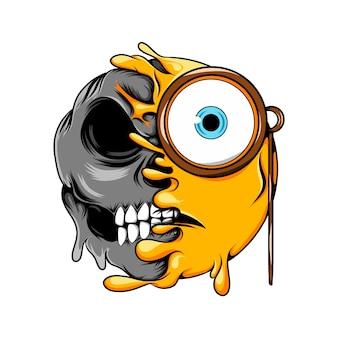 Neugieriges gesicht mit großen augen verwandelt sich in gruseliges dunkles schädel-emoticon