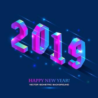 Neujahr 2019 im isometrischen stil. vektor isometrische darstellung der nummer 2019 in hellen g