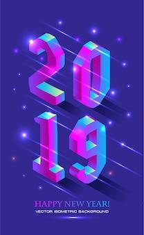 Neujahr 2019 im isometrischen stil