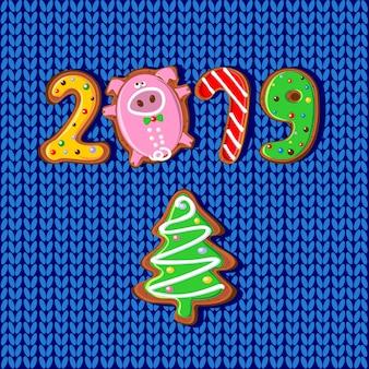 Neujahr. 2019 jahr des schweins.
