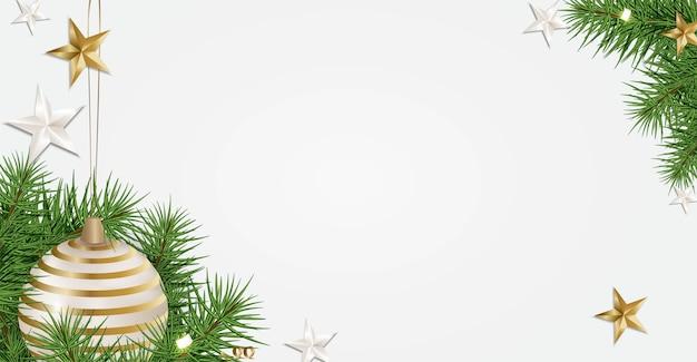 Neujahr 2020. weihnachtsbaumzweige, kugeln, serpentin, 3d sterne
