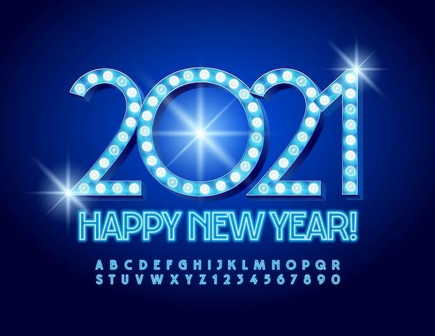 Neujahr 2021. beleuchtete schrift. buchstaben und zahlen des neonalphabets
